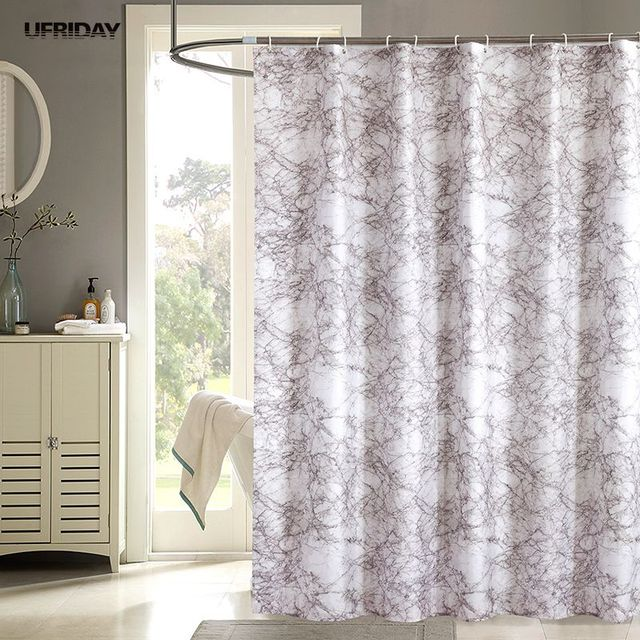 UFRIDAY Marble Shower Curtain Waterproof Bath Curtains For Bathroom Products Thicken Pink Screens Cortina Rideau