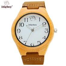 IBigboy Mujeres Reloj Relojes de Los Hombres De Madera De Bambú Natural Hecho A Mano Moda Casual Correa de Cuero Reloj de pulsera de Cuarzo de Luz Fluorescente