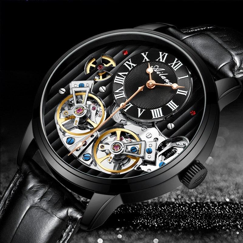 Классический дизайн турбийон стимпанк механические стальные часы для мужчин Скелет автоматические механические мужские часы кожаные часы 2019 Новинка
