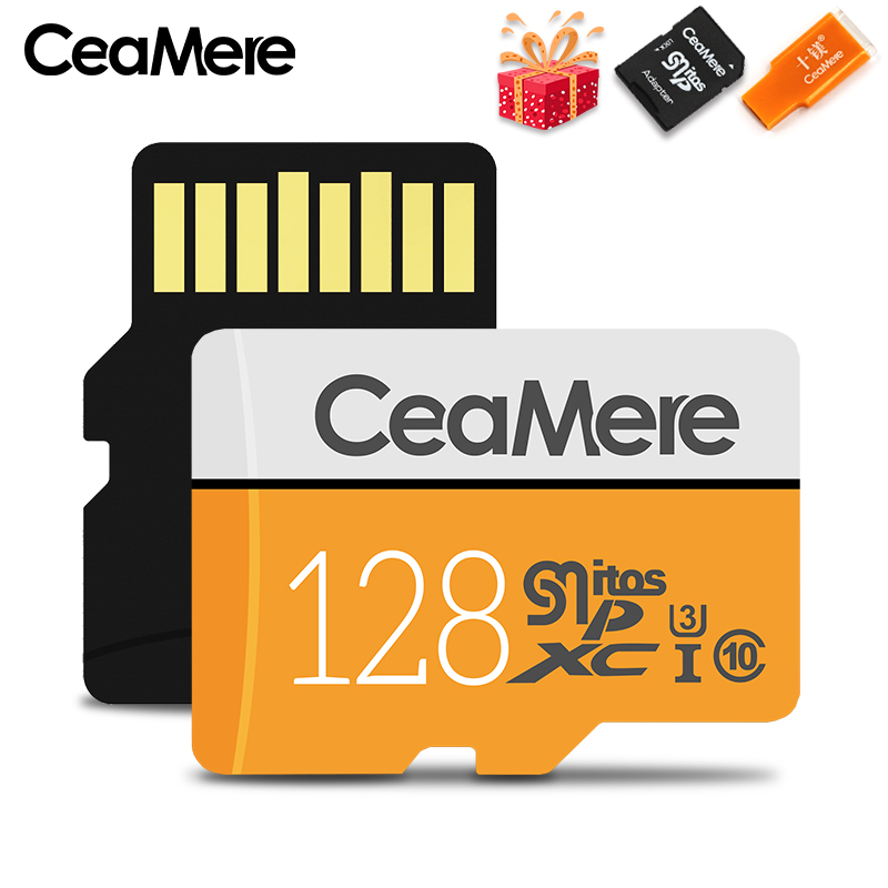 Купить с кэшбэком CeaMere Micro SD Card 256GB/128GB/64GB UHS-3 32GB/16GB/8GB Class 10 UHS-1 4GB Memory Card Flash Memory Microsd Free Crad Reader