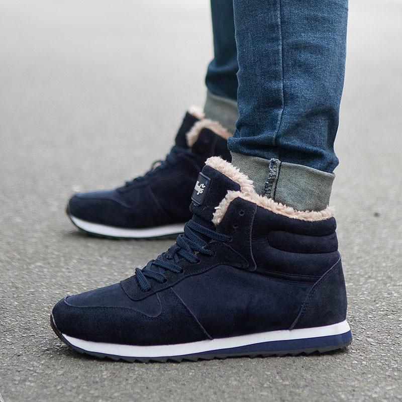 2017 Fashion Men Boots Lace Up Fur Men Shoes Warm Ankle Boots Men Winter shoes male