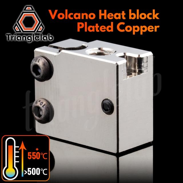 Trianglelab PT100 Volcano Plated Copper Heat Block For E3d Volcano Hotend 3D Printer Heate Block For BMG Extruder Titan