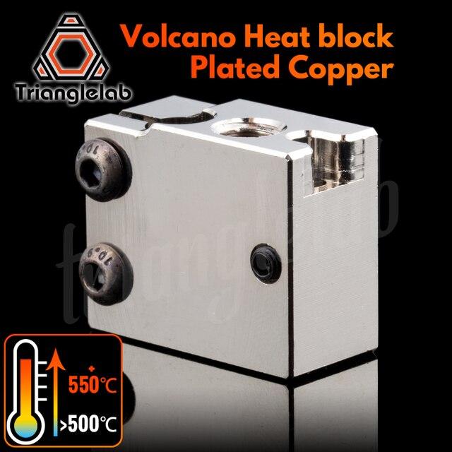 Trianglelab PT100 Volcano Überzogene Kupfer Wärme Block Für E3d Volcano Hotend 3D Drucker Heate Block Für BMG Extruder Titan