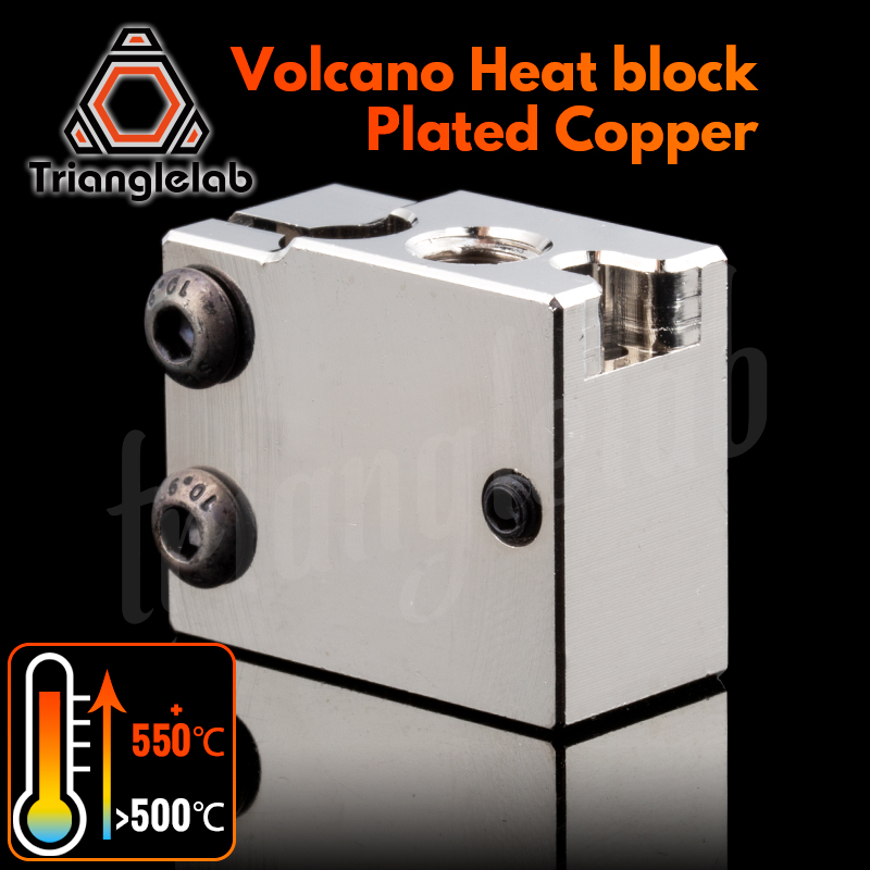 trianglelab PT100 Volcano Plated Copper Heat Block For E3d Volcano Hotend 3D Printer HeateD Block forBMG Extruder TItan