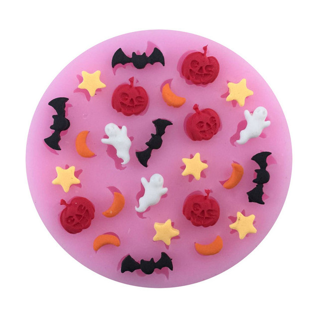 Halloween Pumpkin Star Moon Bat Shape Silicone Cake Mold, Bakeware Mould For Chocolate Jello  DIY Fondant Cake Decoration Tools