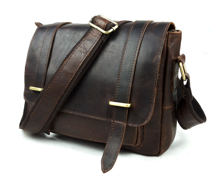 Nesitu Good Quality Vintage 100% Guarantee Real Genuine Leather Men Messenger Bags Cross Body Cowhide #M350