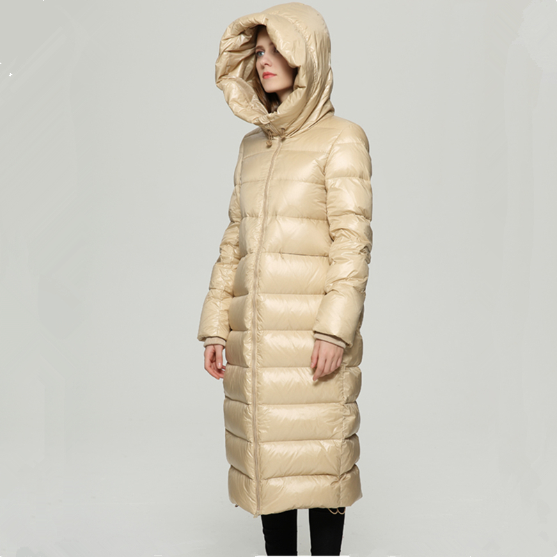 High Quality Winter White Duck Down Jacket Women Fashion Long Down Coat Parkas Thickening Female Waterproof Warm Clothes 1631