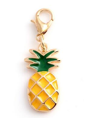 20pcs/lot Pineapple Floating Pendant Charms With Lobster clasp Fit For Memory Locket Bracelet Necklace