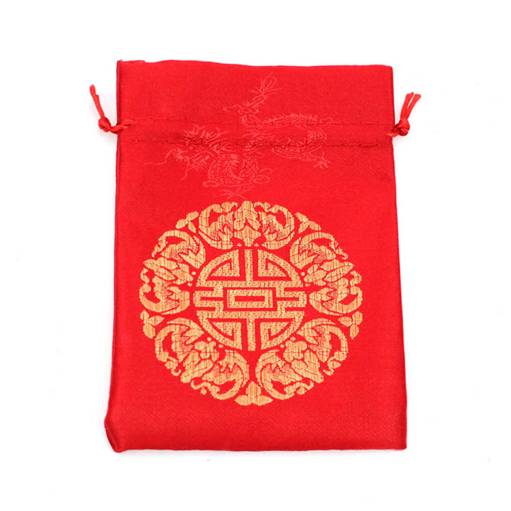 e34f00e9259e New Year Gold Red Drawstring Gift Pouch Silk Blessing Candy Bags for  Wedding Party Favor Brocade Packing Gift Bags Wholesale