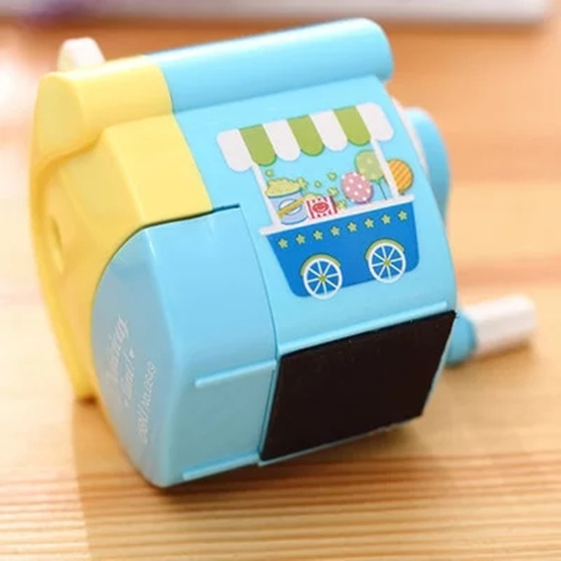 1 Pc Cartoon Little House Plastic Pencil Sharpeners For Kids 96x80x80mm Mechanical Pencil Cutter Deli 0649