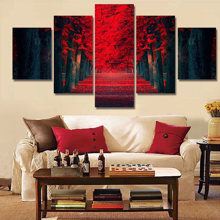 US $14.18 |CLSTROSE 5 Pcs Wall Art Beautiful Red Forest Modern Wall  Painting On Canvas Prints Tree Landscape Painting For Living Room Decor-in  ...