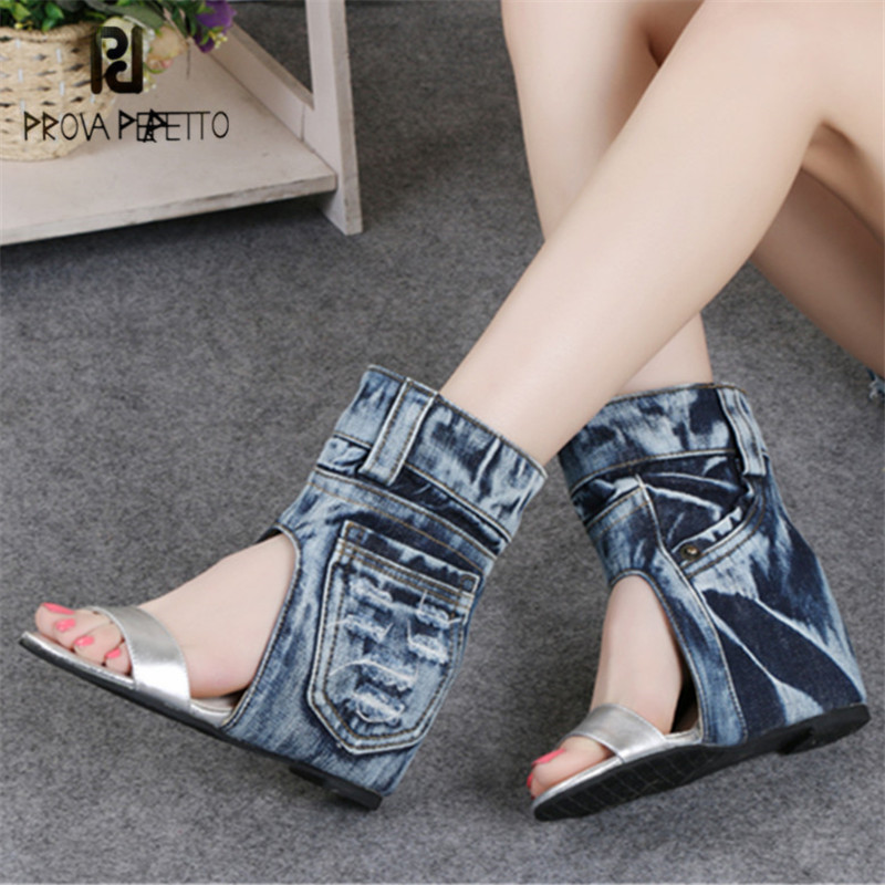 Prova Perfetto Women Summer Boots Denim Sandals Height Increasing Wedge Shoes Woman Ankle Botas Slip On