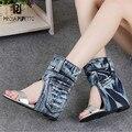 Prova Perfetto Mulheres Botas Denim Sandálias de Verão Altura Crescente Cunha Sapatos de Mulher Botas de Tornozelo Slip-on Cunhas Gladiador Sandália