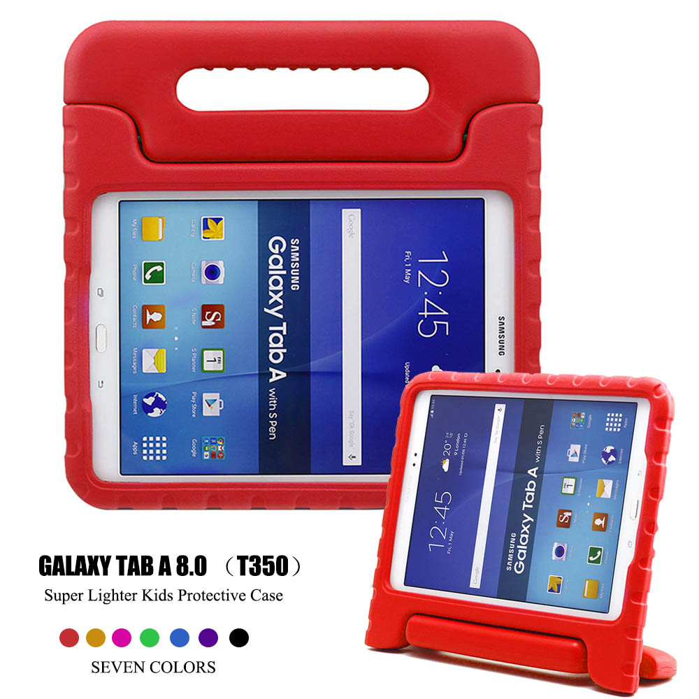 Kids Children Shockproof Case Handle Stand Cover Thick EVA Foam Tablet Case Shell for Samsung GALAXY Tab A 8.0 T350 T351 T355 luxury tablet case cover for samsung galaxy tab a 8 0 t350 t355 sm t355 pu leather flip case wallet card stand cover with holder