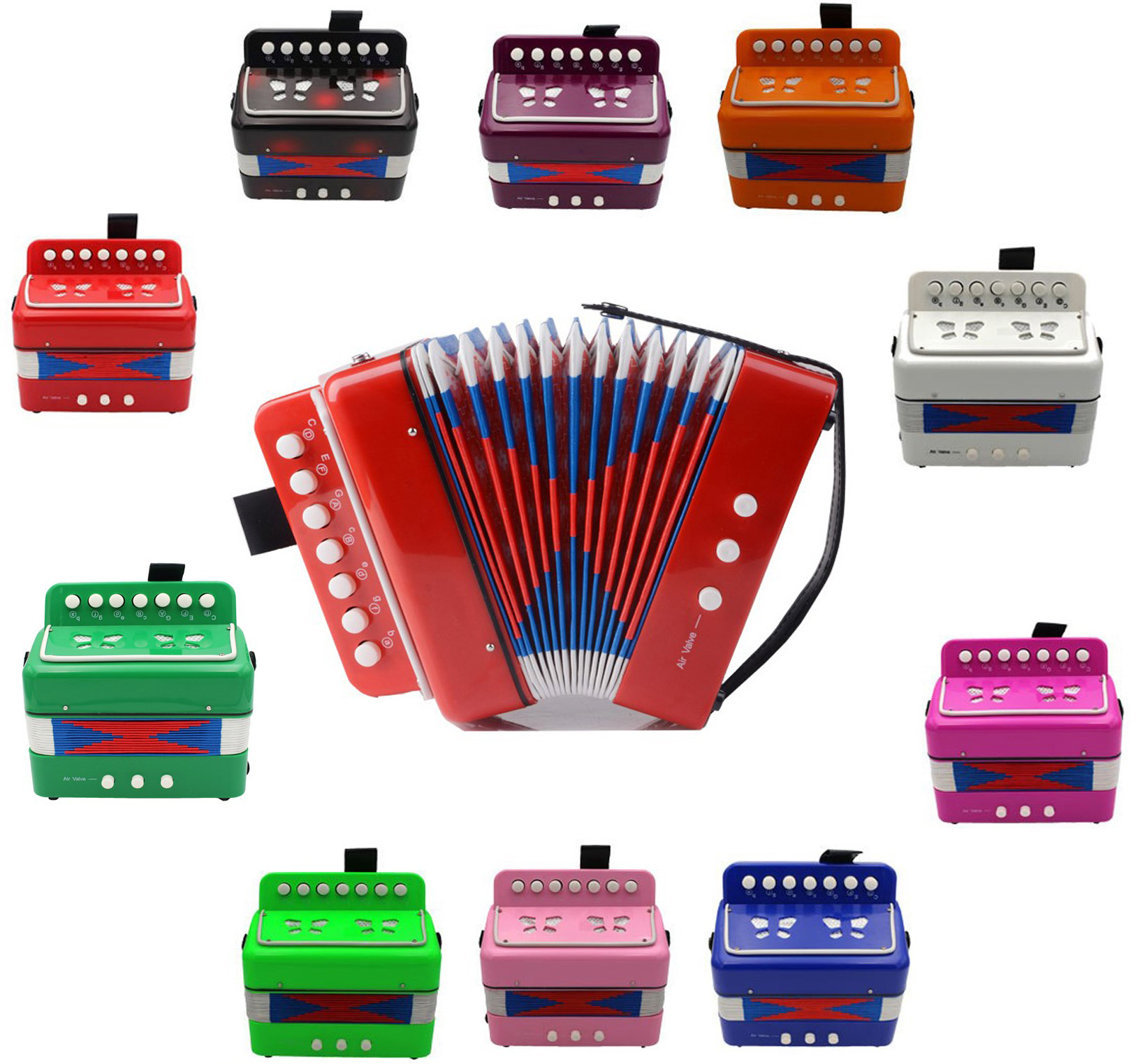 Free shipping!7 Keys 2 Bass Kids Children Accordion Educational toy Accordion 3+ ages Accordion (9 colors optional) spelling today ages 8 9