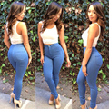 2016 Mujeres Atractivas de La Manera de Talle Alto Vaqueros Suaves Pantalones Flacos Elásticos Delgados Jeggings