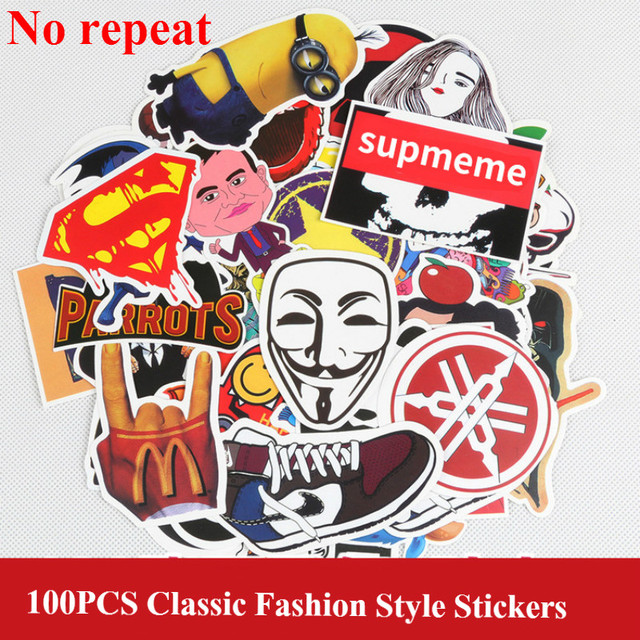 100 pcs/pack Classic Fashion Style Graffiti Stickers For Moto car & suitcase cool laptop stickers Skateboard sticker