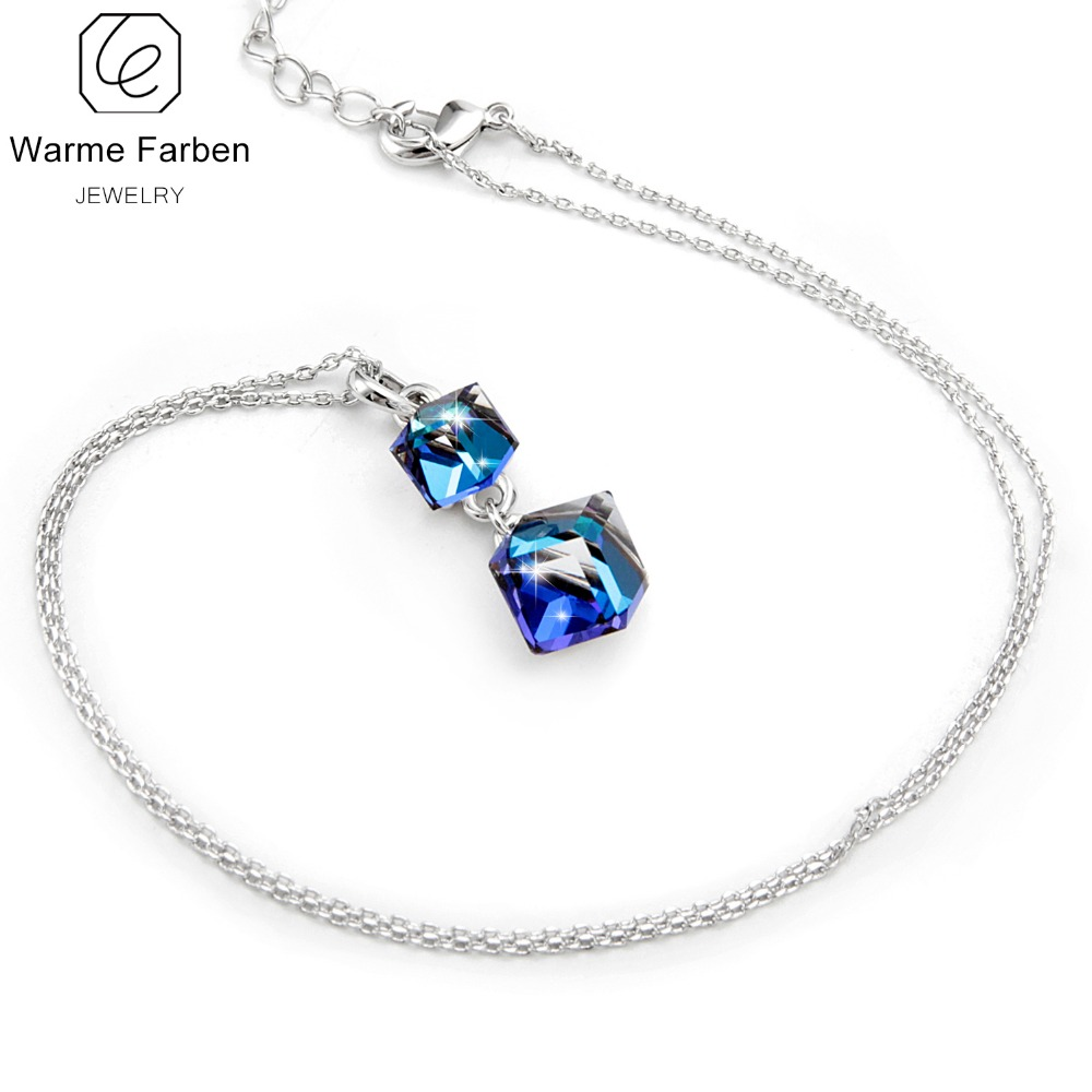 WARME FARBEN Crystal from Swarovski Women Necklace Square Double Crystal Cube Pendant Necklace Fashion Jewelry Female Collares