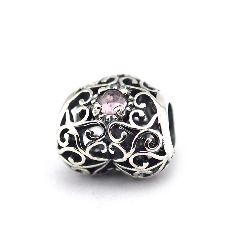 c764d415d ... Fits for Pandora Charms Bracelets February Signature Heart Beads with Amethyst  100% 925 Sterling Silver ...