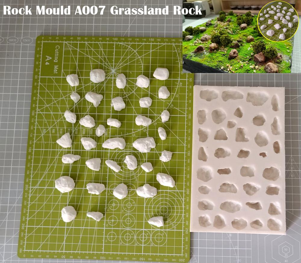 Miniature  Rock Mould  A007 Grassland Rock  DIY Tool For Train Model Scenario Sand Table