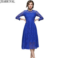 Women S Elegant Lace Dresses 2018 New Spring Fashion Floral Crochet Hollow Out Ball Gown Casual