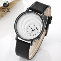 New Brand ABBYGALE Unique Moon Dial Design Analog Quartz Wristwatch Leather Strap Women's Watch Exquisite Gift Relogio Feminino