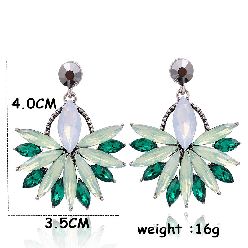 Güzel Moda Çiçek Kristal Saplama Küpe Takı Tam Avusturyalı - Kostüm mücevherat - Fotoğraf 3
