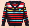 Hot Striped classics 3 colors Baby Boys girls Sweaters Kids V-Neck Sweater Children Sweater children clothing Free shipping