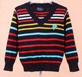 Rayas clásicas 3 colores Bebé caliente niñas Suéteres Niños Suéter Con Cuello En V Suéter de Los Niños ropa de los niños Envío gratis