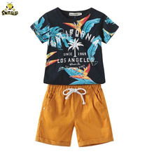 SONDR baby boys sets summer boutique childrens clothing T-shirt + cotton Sports shorts letter printed suit