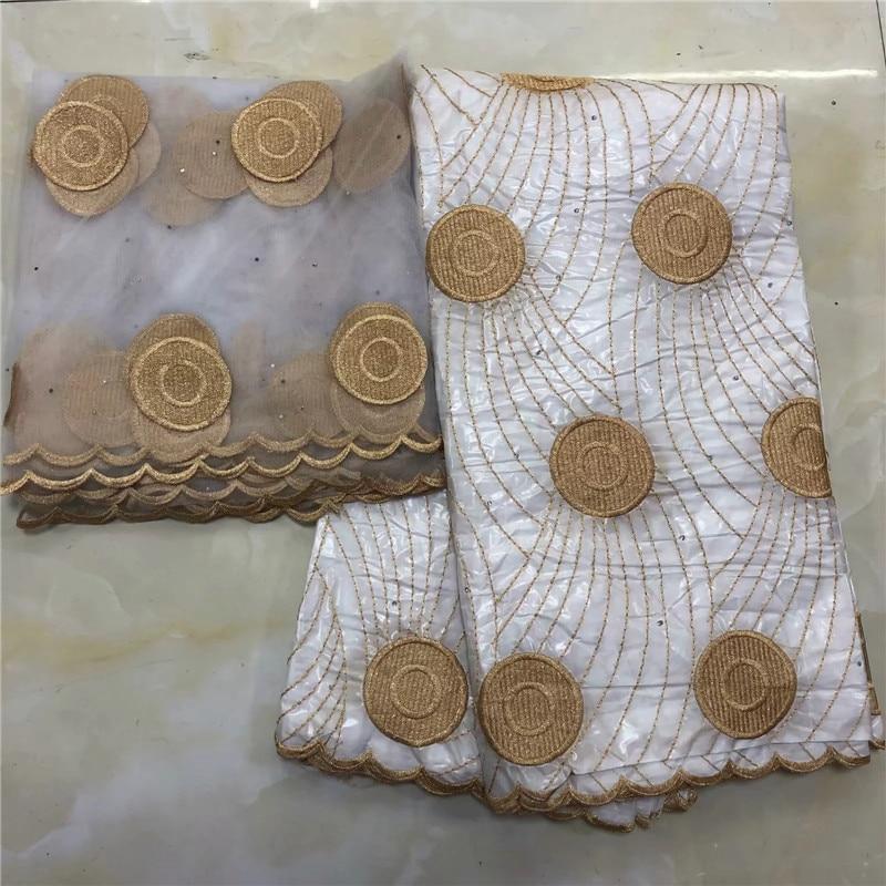 2019 nueva llegada de piedra Africana Bazin riche getzner tela con encaje bordado/Bain riche vestido material nigeriano KY042723-in Tela from Hogar y Mascotas    1