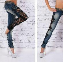 Latest flare sexy embroidery Hand worn Stitching Lace jeans  fashion Low skinny slim Self-cultivation Small pants