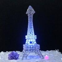 2pcs Set New Arrival 60cm Height Crystal Pendants Iron Eiffel Tower Candelabras Wedding Candle Holder Centerpiece