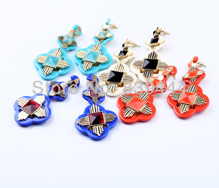 New Arrival Jewelry Shiny Multi-color Silver Color Cross Earrings Earrings
