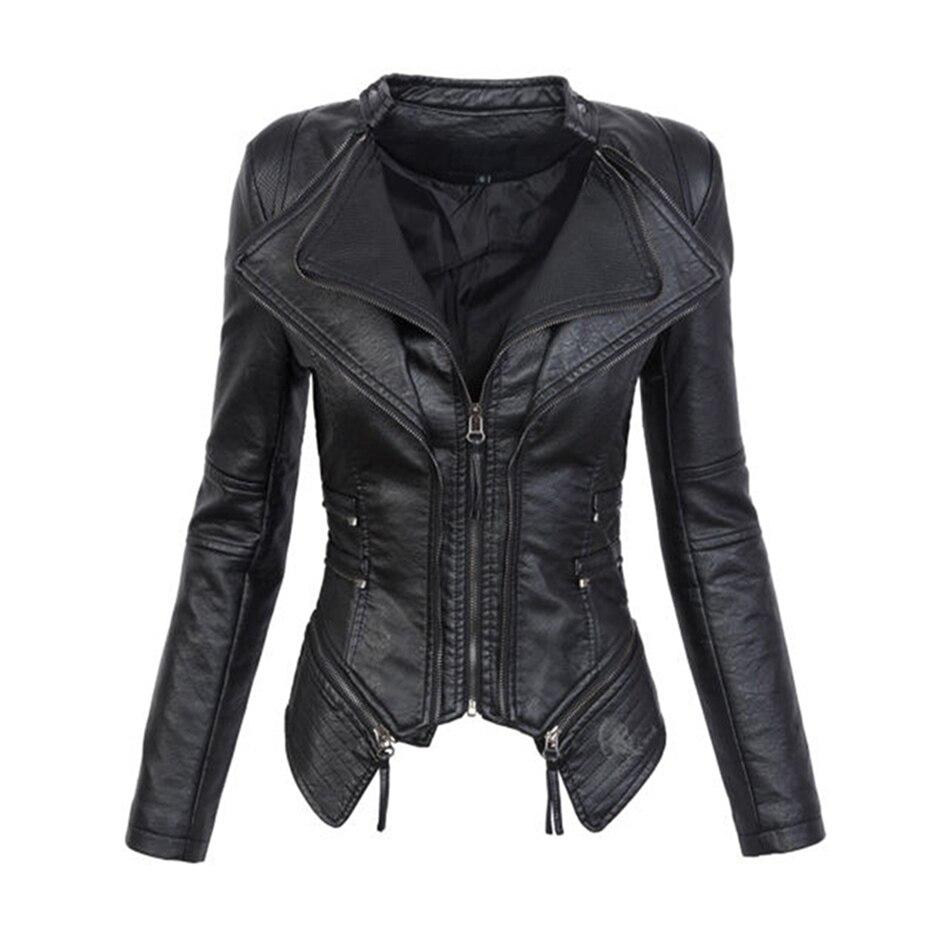 Kinikiss 2018 Women Jacket Coat Leather Black Autumn Faux ...