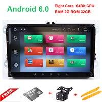 8 core 2 DIN Android 6.0 9 дюймов автомобиля Радио плеер для VW Volkswagen Golf 5 Гольф 6 поло Passat Skoda CC Jetta Tiguan Touran GPS