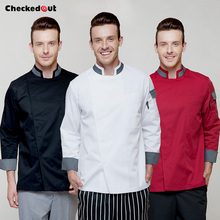 Brands checkedout Chef Wear Long Sleeve Shirt  Hotel Restaurant Chef Uniforms Autumn and Winter Kitchen Clothing