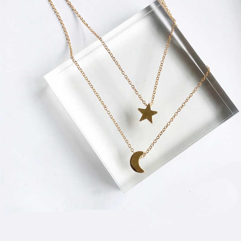 X197 แฟชั่นเครื่องประดับ Gold สี Moon Star Sun จี้สร้อยคอ Crescent จี้สร้อยคอยาวผู้หญิง 2 ชิ้น/เซ็ตขายส่ง