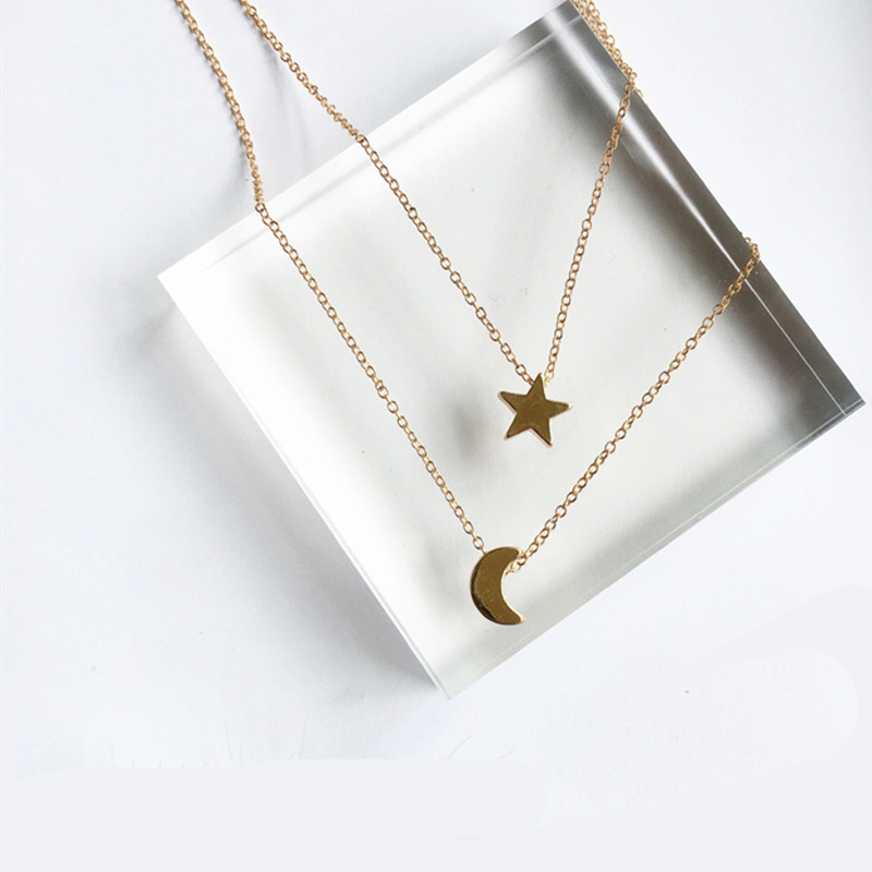 x197 Fashion Jewelry Gold Color Moon Star Sun Pendant Necklaces Crescent Pendant Long Necklaces For Women 2 Pieces/Set Wholesale
