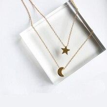 x197 Fashion Jewelry Gold Color Moon Star Sun Pendant Necklaces Crescent Pendant Long Necklaces For Women 2 Pieces/Set Wholesale