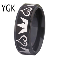 Free Shipping Top Quality The Kingdom Hearts Crowns Design 8MM Matte Center Black Step Men S