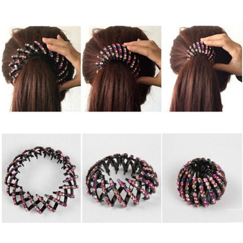 MISM Fashion Crystal Ponytail Holder Rhinestone hair Crab Donut Bud Women s  Hairstyles Hair Claws Girl Bird Nest Updo Hair Grips-in Women s Hair  Accessories ... 9250b5f24833