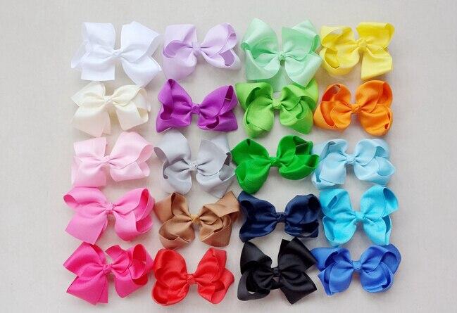 100pcs Hairbows Gril DIY big 4 inch ABC grosgrain ribbon Bowknot hair bows clips hair accessories