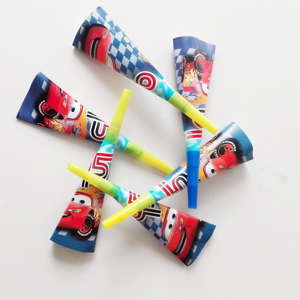 6pc/set Cartoon Car Theme Noise Maker/whistle Boy Favor Horn Birthday Party Decoration Supplie Blowouts Whistles cars