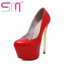 Sexy Stiletto Pumps 2016 Beautiful Spring Party Shoes Woman New Arrival High Heels Thick Platform Shoes Pumps Size 34-39
