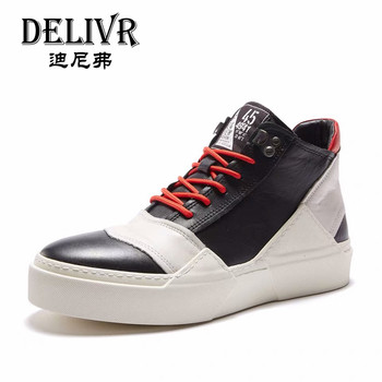 Delivr Sneakers Men Shoes High Top 2019 Genuine Cow Leather Sneakers Mens Luxury Men Sneakers Mans Shoes Men's Leather Shoes