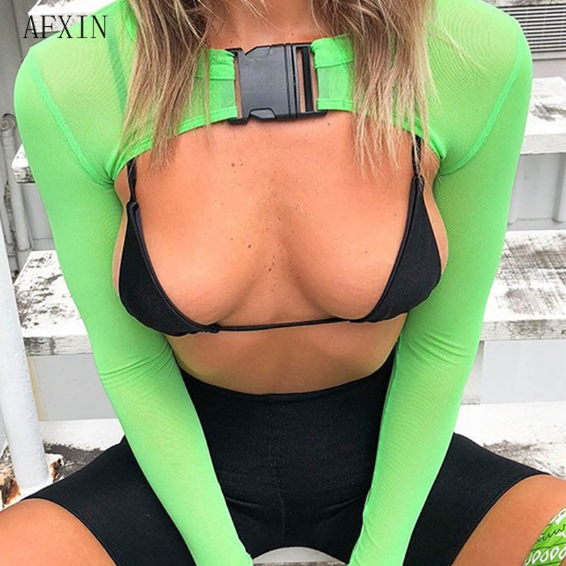 Neon Pink Mesh Buckle Long Sleeve Crop Top Mujer Streetwear Sexy T Shirt Women Fashion Summer 2019 Black Orange Cropped Tee