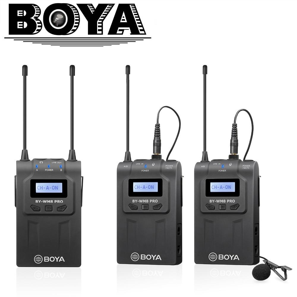 BOYA BY-WM8 Pro-K2 UHF Dual-Channel Lavalier Microfono Senza Fili Sistema con DISPLAY LCD Dello Schermo per Canon Nikon DSLR Videocamera Portatile Della Macchina Fotografica
