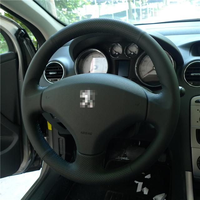 Preto Cobertura de Volante de Couro Artificial DIY Mão-costurado para o Velho Peugeot 408/Peugeot 308