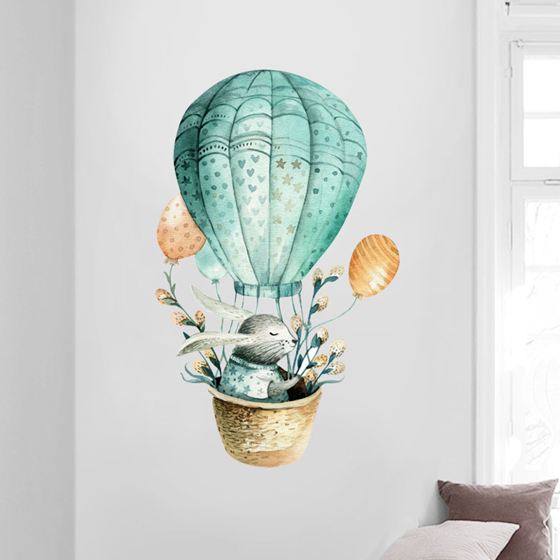 Cartoon Wall Sticker Kids Room Decoration Rabbit Hot Air Balloon Home Decor Nordic Style Watercolor Painting Baby Diy Art In Stickers From